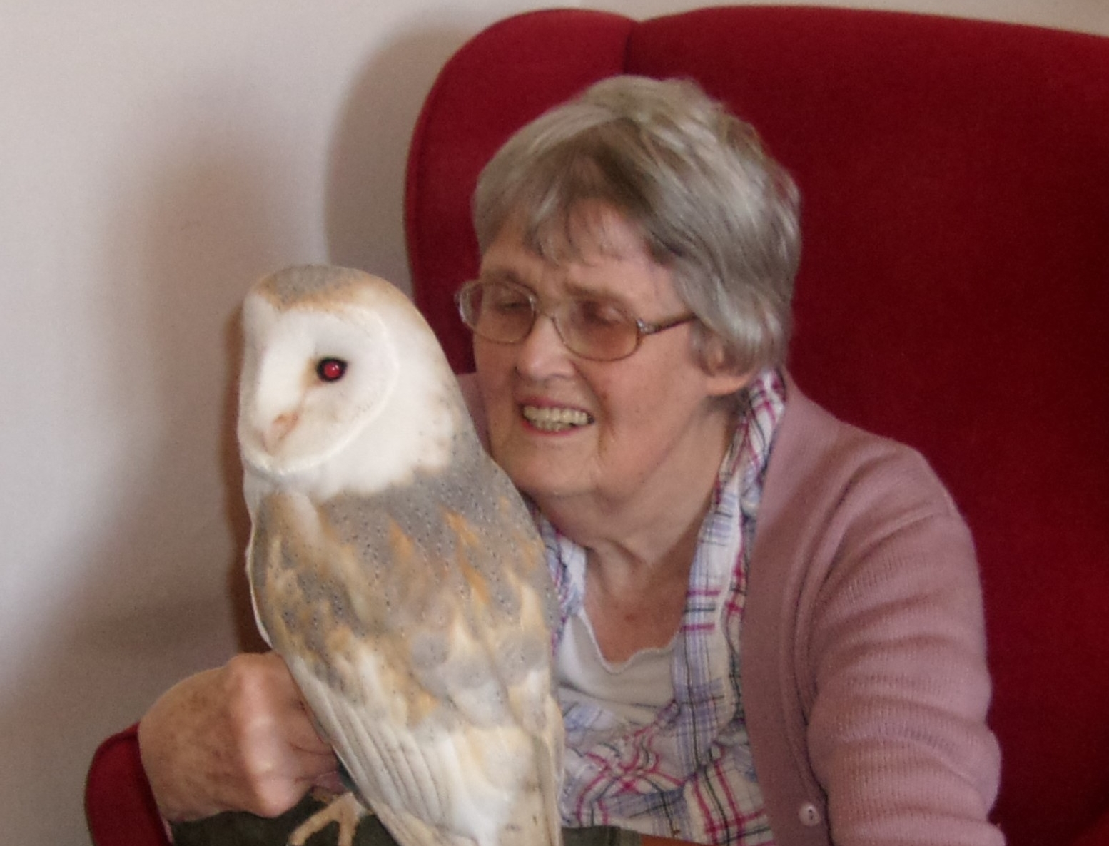 A Fairfield resident holds an owl