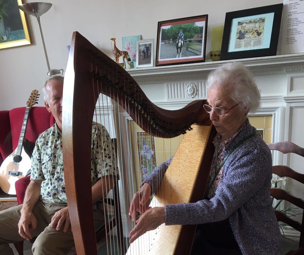 Playing the harp at Fairfield