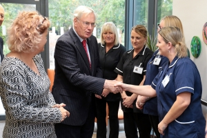 HRH Duke of Gloucester meets staff. The Duke was in Oxford to open the new Fairfield Residential Home in Banbury Road, Oxford Picture: Ric Mellis 11/10/2018