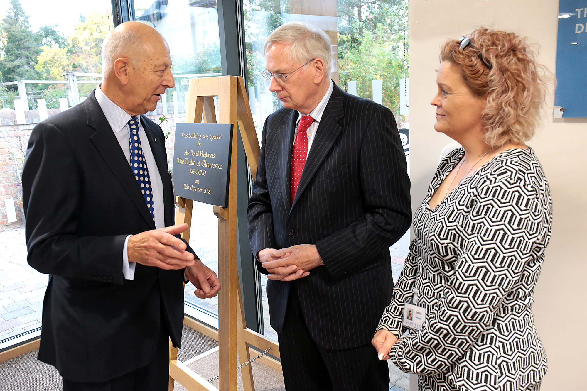 Chair of trustees John Cole and manager Debbie Hayes chat with HRH Duke of Gloucester. The Duke was in Oxford to open the new Fairfield Residential Home in Banbury Road, Oxford Picture: Ric Mellis 11/10/2018