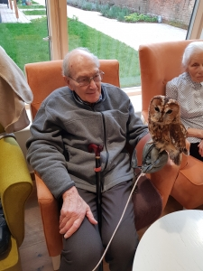 Holding an owl during a visit from Al's owls