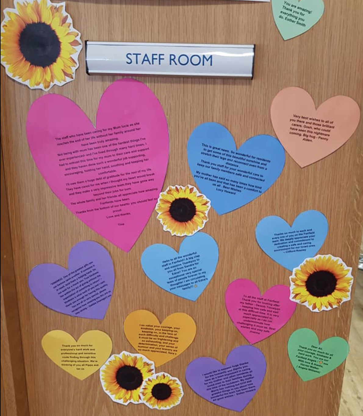 Thank you messages for Fairfield staff